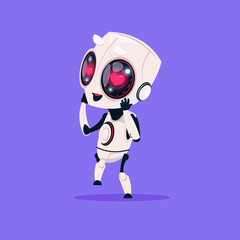 Wall Mural - Cute Robot With Heart Shape Eyes Isolated Icon On Blue Background Modern Technology Artificial Intelligence Concept Flat Vector Illustration