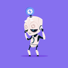 Wall Mural - Cute Robot Updating Software Isolated Icon On Blue Background Modern Technology Artificial Intelligence Concept Flat Vector Illustration