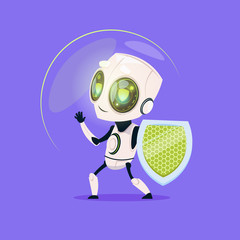 Wall Mural - Cute Robot Hold Shield Data Protection Technology Isolated Icon On Blue Background Modern Artificial Intelligence Concept Flat Vector Illustration