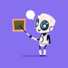 Cute Robot Teacher Hold Pointer Near School Board Isolated Icon On Blue Background Modern Technology Artificial Intelligence Concept Flat Vector Illustration