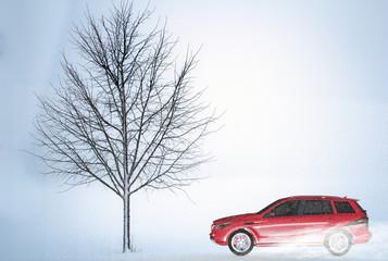 Moderner Geländewagen in einer winterlichen Landschaft