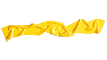 Yellow scotch tape isolated on white background