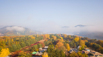 Aerial view. Sunrise Autumn at Nami island ,Seoul Korea