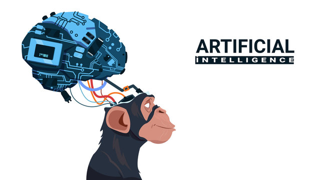 Monkey Head With Modern Cyborg Brain Over White Background Artificial Intelligence Concept Vector Illustration