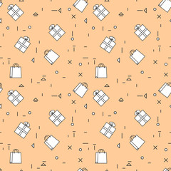 Shopping Bags And Gift Boxes Seamless Pattern Thin Line Vector Illustration