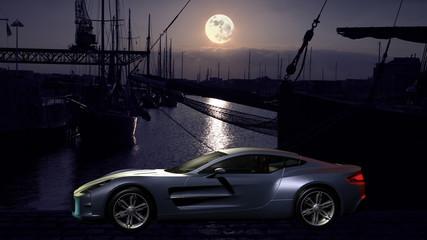 Sportwagen vor einer Hafenkulisseim Mondlicht