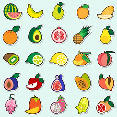 Fruits Stickers On Blue Background Colorful Icons Collection Vector Illustration