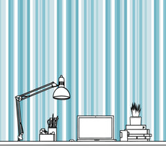 Black pen freehand sketch drawing of laptop, stationery, lamp and camera with aqua decorated wallpaper 3240