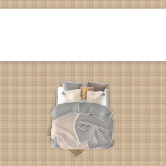 Blank frame over brown square pattern canvas and sketch drawing of queen size bedroom 3243