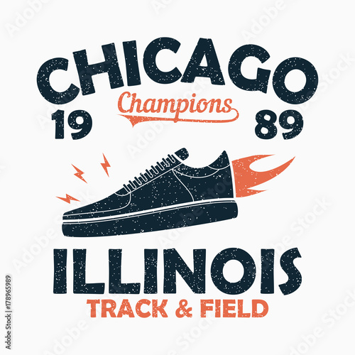 cbc0da1f Chicago, Illinois Track and Field athletics typography for t-shirt with  sneaker in fire. Original sportswear print. Apparel typography. Graphic for  design ...