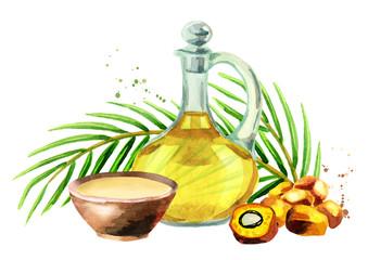 Palm oil set. Watercolor illustration