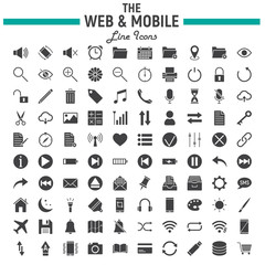 Web and Mobile glyph icon set, os interface symbols collection, vector sketches, logo illustrations, web signs solid pictograms package isolated on white background, eps 10.