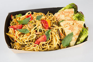 chinese asian noodles in carton takeaway fast food