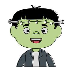 little boy disguised as a Frankenstein