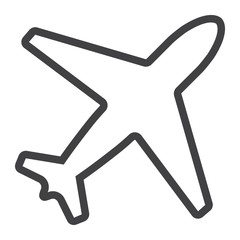 Airplane line icon, web and mobile, flight mode sign vector graphics, a linear pattern on a white background, eps 10.