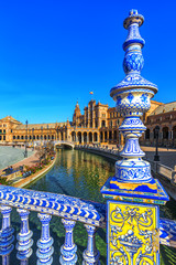 Plaza Espana. Tiled ornaments. Seville (Sevilla), Andalusia, Spain.