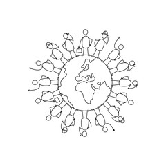 Diverse group of people standing on planet earth. Vector illustration of the globe with humans on it.