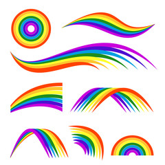 Vector illustrations of different rainbows isolate on white. Template for logo design