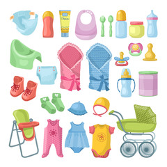 Illustrations set of newborn stuff. Different pictures set in cartoon style
