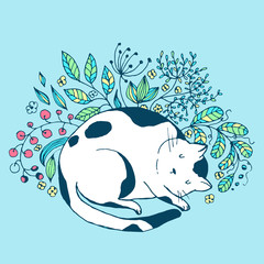 Cute cat sleeping in the grass and flowers - vector hand drawn illustration