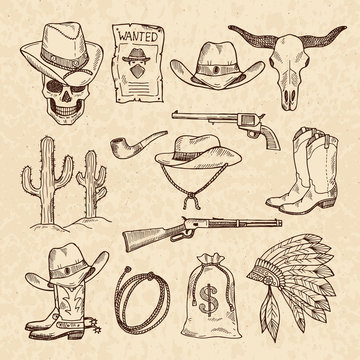 Western symbols. Cowboy, guns, saloon and other wild west pictures set. Vector hand drawn pictures