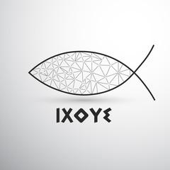 Geometric Christian fish Ixoye
