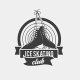 badge with a pair of ice skates monochrome symbol with a pair of