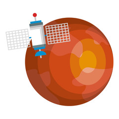 mars planet with satellite