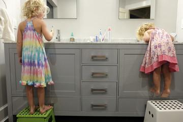 Rear view of sisters brushing teeth in bathroom