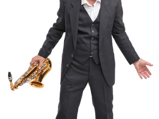 Grandfather holding a sax in his hand on a white isolated background