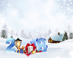 Photo sur Plexiglas Winter christmas background with a snowy house and 2018 year.