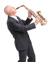 Grandpa playing on saxophone on white isolated background
