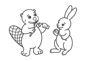 The beaver and the hare are brushing their teeth.