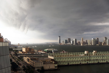 Dramatic clouds on Manhattan, NYC and New Jersey skyline