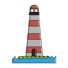 lighthouse on water icon image vector illustration design