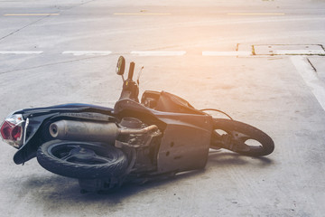 Accident motorcycle on the road