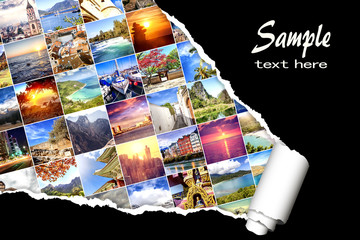 Background with many photos from vacation and travel, destination all over the world, with  effect of ripped paper. Design, advertising, concept