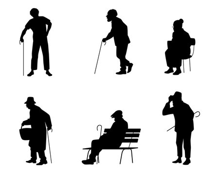 Six silhouettes of older people