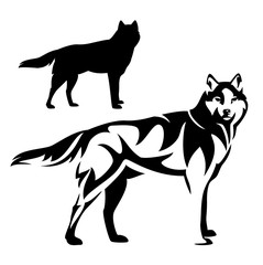 standing wolf black and white vector outline and silhouette design