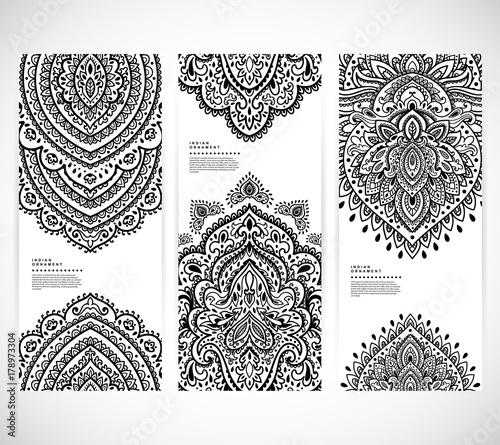 Bohemian Indian Mandala Print Vintage Henna Tattoo Style Stock