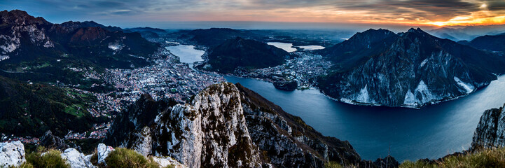 panoramic view to Lecco Lake - Lake Como district Lombardy Italy