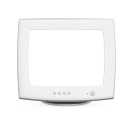 CRT Computer Monitor with Blank White Screen Isolated