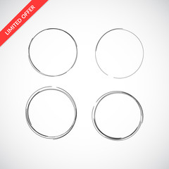 Set of drawn circular sketch frames isolated on background