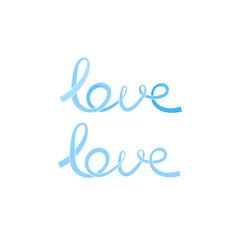 Blue pastel love ribbons