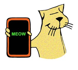 Cartoon illustration of a yellow cat holding a cell phone that reads 'meow'.