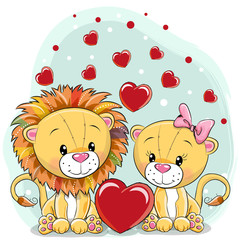 Two Lions with hearts on a blue background