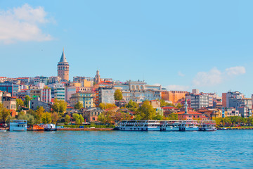 Galata Tower, Galata Bridge, Karakoy district and Golden Horn, istanbul - Turkey