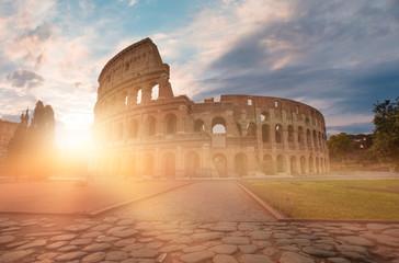 Amazing sunrise at Rome Colosseum (Roma Coliseum), Rome, Italy