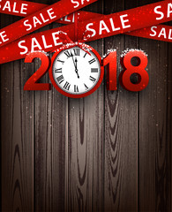 Wooden sale 2018 background with clock.