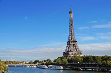 Sunny Paris. Eiffel Tower on a sunny day.
